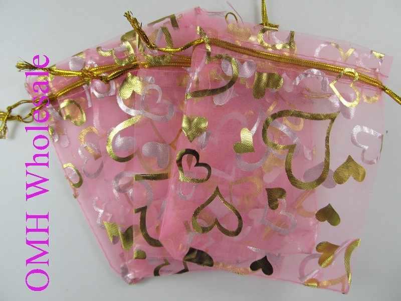 OMH all'ingrosso 50 pz 10x15 cm 20 colori Amore rosa cuore Di Natale regalo di Nozze voile bag Sacchetti Organza Jewlery imballaggio Sacchetto Del Regalo BZ09