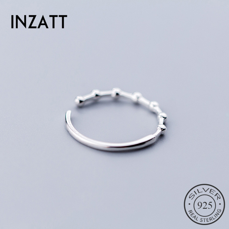 INZATT Real 925 Sterling Silver Bead Opening Ring For Fashion Women Minimalist Ring Fine Jewelry Bamboo Knot Trendy Gift 2019