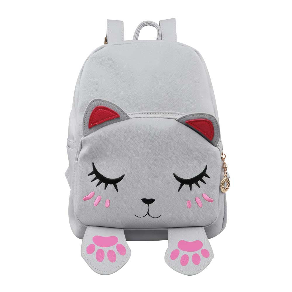 Cute Cat Backpack School Women Pu Leather Backpacks for Teenage Girls Funny Cats Ears Canvas Shoulder Bags Female Mochila redalex lovers embroidery women backpack shoulder bag school bags backpacks women pu leather for teenage girls mochila feminina