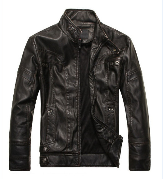 ZOEQO Leather Jacket Men...
