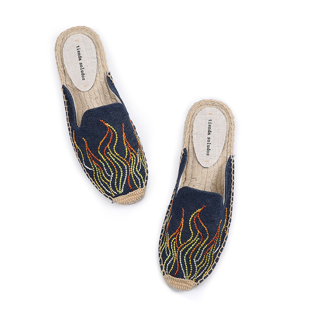 Tienda Soludos Slippers Women New Arrival Hemp Rubber Cotton Fabric Mixed Colors Summer Pantufas Zapatos De Mujer Slides