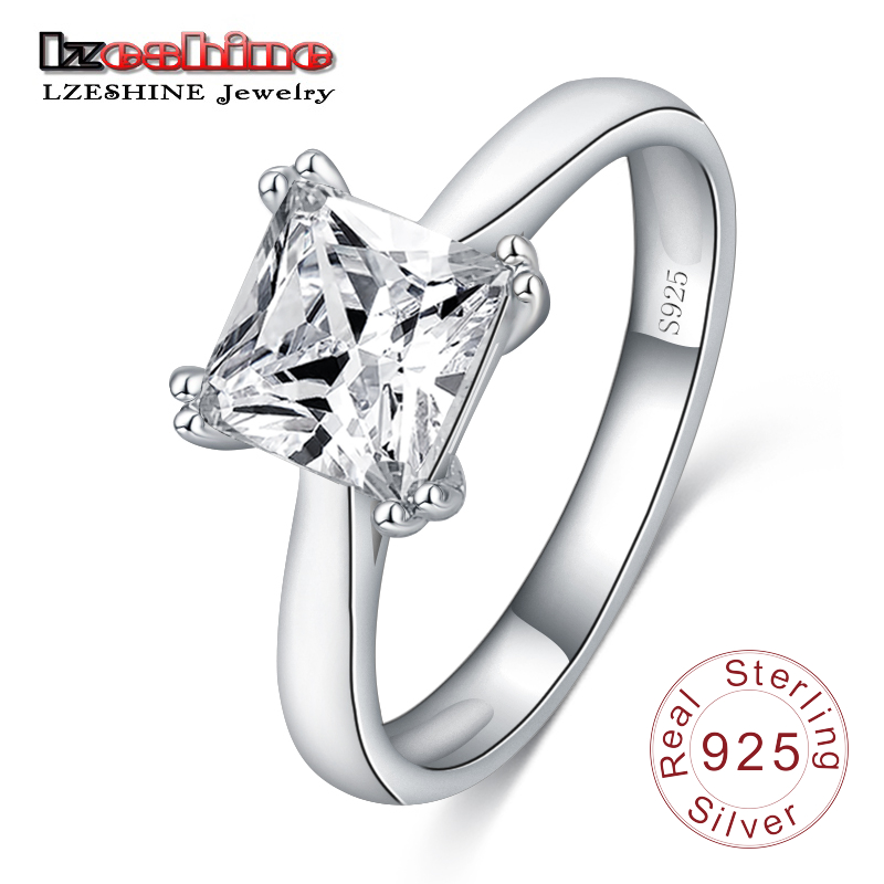LZESHINE Women Rings 100% 925 Sterling Silver Square Shape with CZ Stone Jewelry Engagement Rings female Anel Bijoux SRI0048