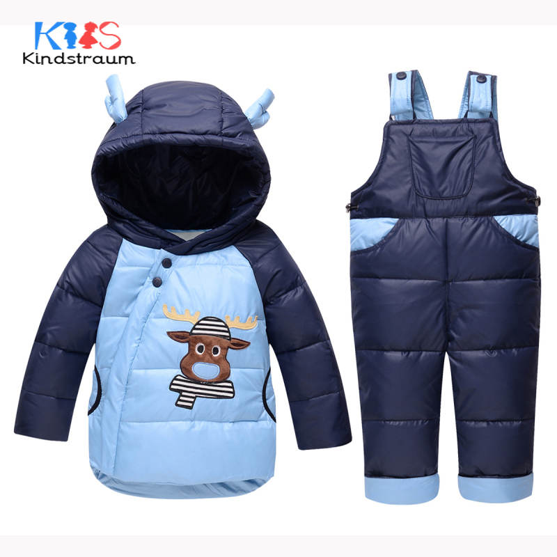 Kindstraum Winter Super Warm Children Clothing Sets Duck Down Kids Baby Cartoon Cow Suits 2PCS Coat Hooded+Snow Jumpsuit, MC865 kindstraum 2017 super warm winter boys down coat hooded fur collar kids brand casual jacket duck down children outwear mc855