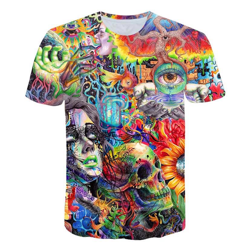 Estilo de verão dos homens da moda da camisa da cópia 3d do psychedelic do conhecimento antigo camiseta