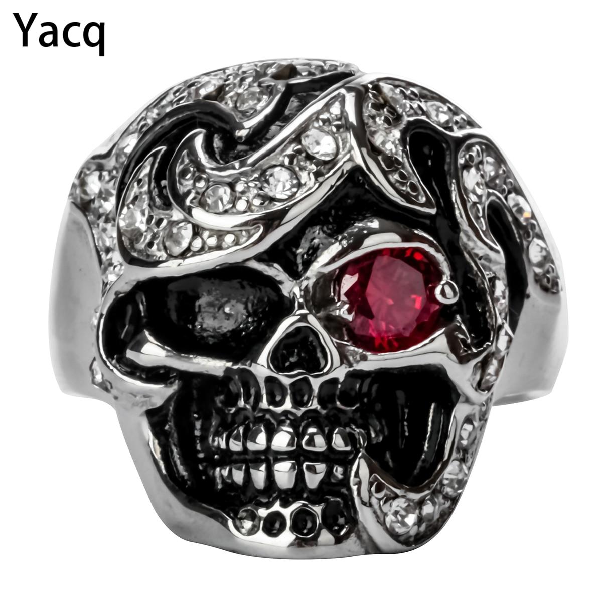 Yacq cráneo anillo gótico hombres mujeres biker joyería punky pesada regalos Acero inoxidable W/Cristal plata color KR46 316L dropshipping