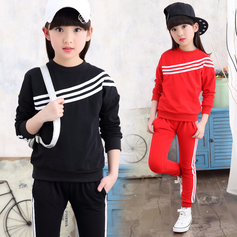 ФОТО Kids girls spring / autumn 2 pcs set 2017 new baby girls' clothing fashion threaded sleeve sports suit 4/5/6/7/8/9/10/11/12/13