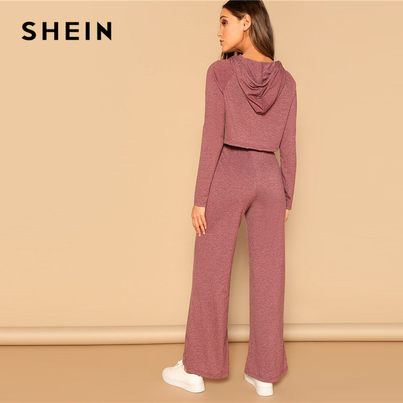 SHEIN Drawstring Crop Hoodie And Pants Set 2 Piece Outfits For Women Spring Casual Long Sleeve Crop Top Wide Leg Pants Sets 2