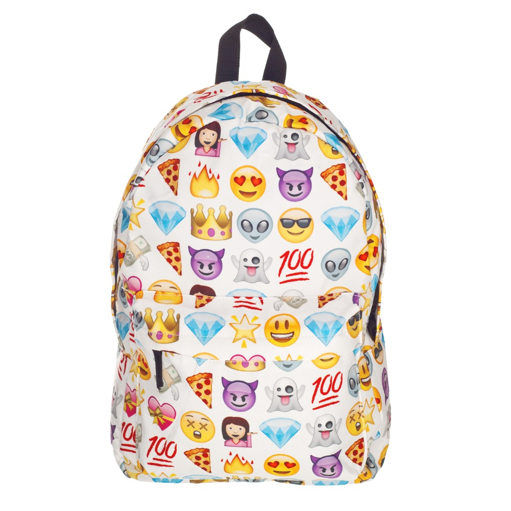15 Color High Quality Women Canvas Backpacks Smiley Emoji Face 3D Printing School Bag For Teenagers Girls Shoulder Bag Mochila