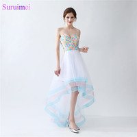 Colorful Girls Prom Gown Organza Sweetheart Handmade Flower Rainbow Short Front Long Back Prom Dresses