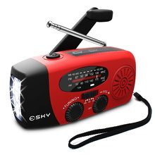 5-in-1 Portable FM Radio Hand Crank Self Powered AM/FM/NOAA Solar Emergency Radios with 3 LED Flashlight 1000mAh Power Bank(China)