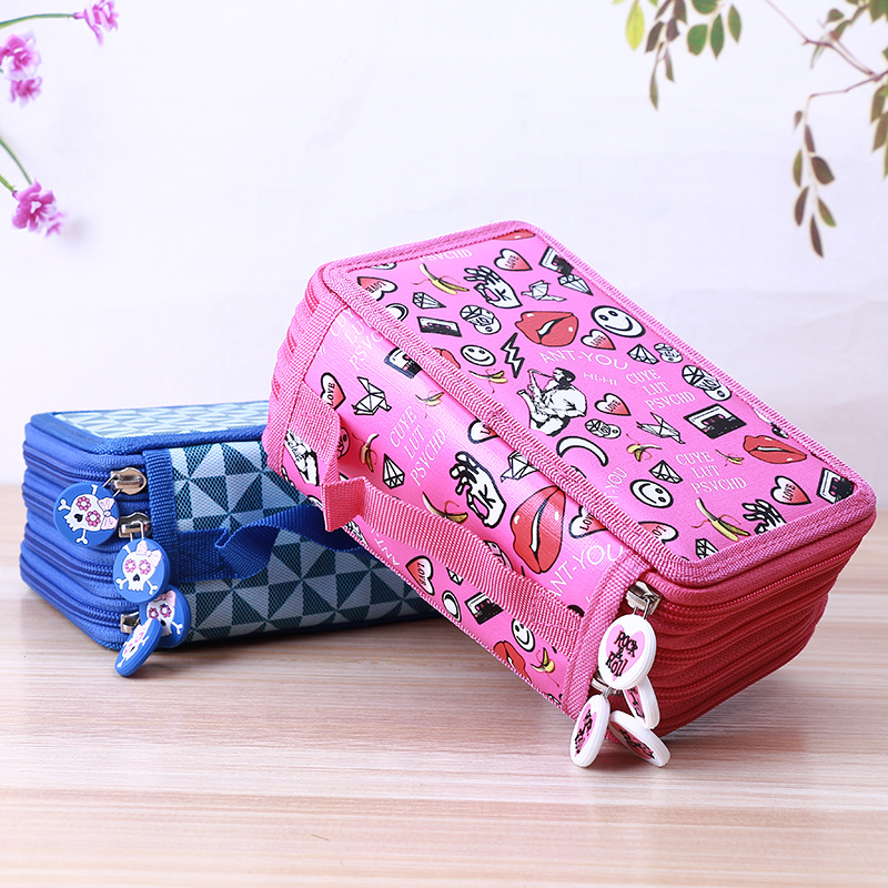 цена Cute School Pencil Case Kawaii Cartoon Penality Penalty Pencilcase Large 72 Holes 4 Layers Pen Bag Kids Boys Girls Pen Box Pouch