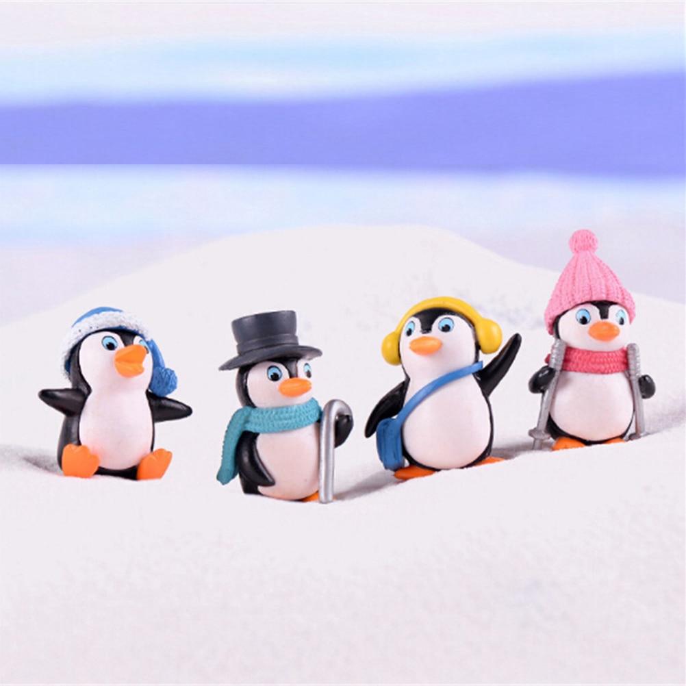 1/4/5Pcs/set Winter Penguin Miniature Figurine Mini Christmas Figures For Fairy Decoration DIY Crafts Kids Best Gifts