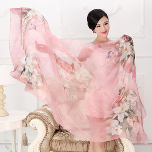 Image 2 - 2018 High quality 100% mulberry silk scarf natural real silk Women Long scarves Shawl Female hijab wrap Summer Beach Cover ups