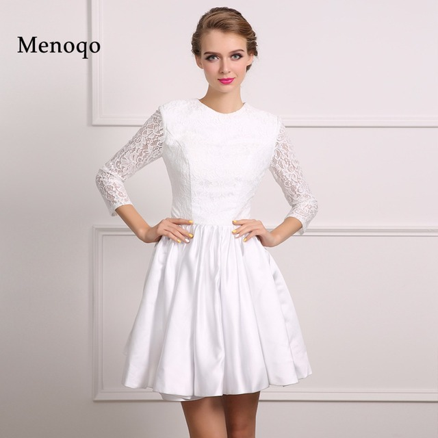 top selling real model white satin lace long sleeve 2018 christmas cocktail party dresses short