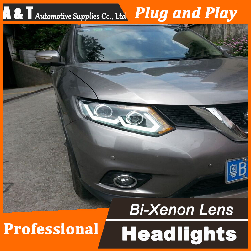 Car Styling for Nissan X-Trail Headlights 2014 Nissan X-Trail LED Headlight DRL Lens Double Beam H7 HID Xenon bi xenon lens hireno headlamp for 2013 2015 nissan tiida headlight assembly led drl angel lens double beam hid xenon 2pcs