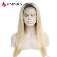 Fabwigs Ombre Blond Glueless Lace Front Wig 150 Density Two Tone 1B 613 Blond Pre Plucked