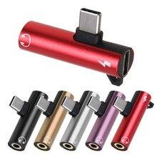 Mini& Slim 2 в 1 Многофункциональный кабель type-C адаптер для зарядки и наушников 3,5 мм Головка Aux аудио USB C кабель 40MAY15