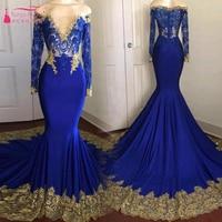 Hot Sale African Evening Dresses Black Girls See Though Long Sleeve Prom Dresses Blue With Gold Appliques Elegant Vestidos ZE022