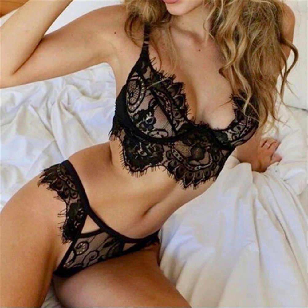 81403739e1ae9 ... Sexy Lace Bralette Sets Women Lingerie Trim Straps Bra Soft Push Up Top  Deep V Back ...