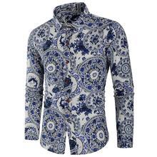 Shirt male Cotton Linen Long-sleeved Blue white Porcelain print Hawaiian Shirt Dress Blouse Men cotton linen leaves print shirt