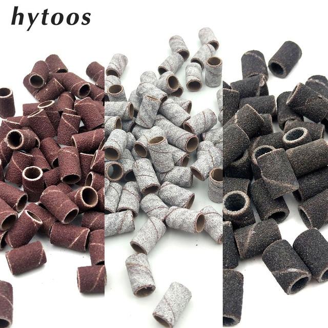 HYTOOS 100Pcs/set 3 Colors Nail Art Sanding Bands Pedicure Tools Electric Nail Drill Accessories Foot Care Tools 80# 150# 240#