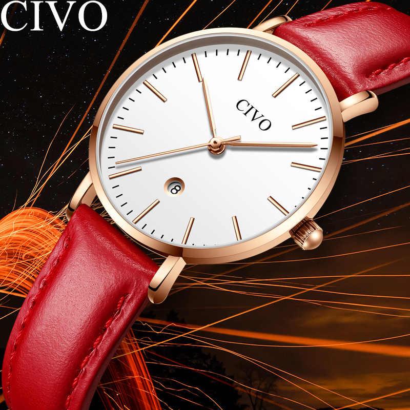 Civo moda casual das mulheres relógios marca superior de luxo pulseira couro vermelho relógio à prova dwaterproof água data senhoras relógios relogio feminino