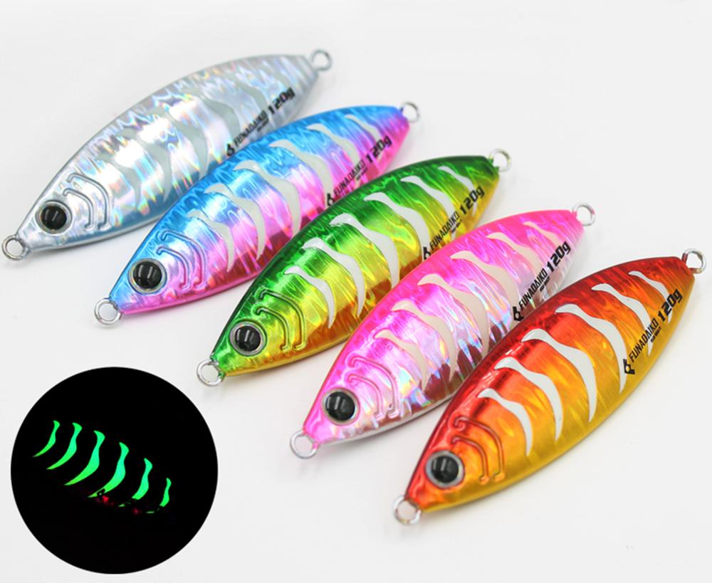 5PCS Zebra Glow Stripe Fishing Jig Deep sea Jigging Jigbait Spoon Lure 30//40//60g