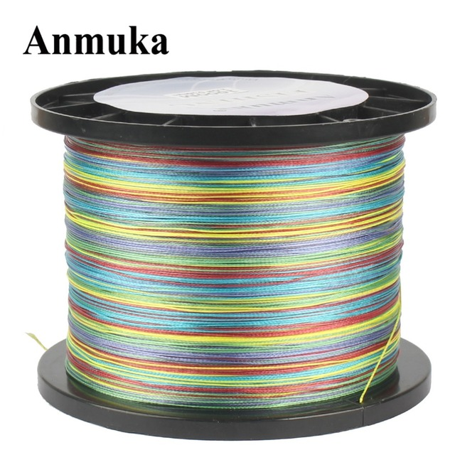 Anmuka Fishing Line 500M Multicolor 1M 1 Color Top Series Mulifilament PE Braided Japan 4 Weaves Wires Corp Fishing Strong