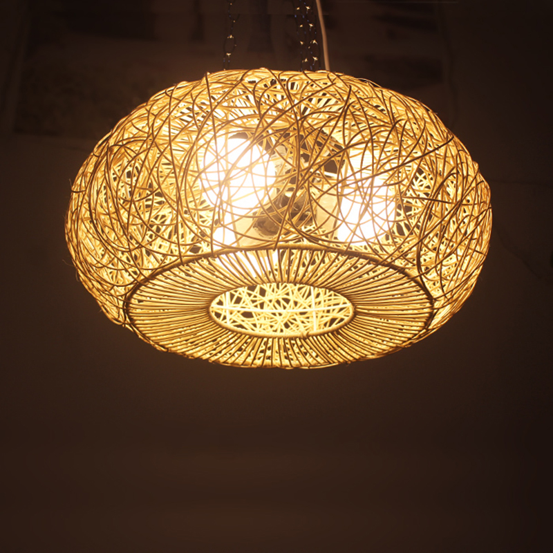Trend Mark Modern Led Round Rattan Pendant Lamp Art Deco E27 Pendant Light Hand Knitted Weaving Hanging Lamp For Living Hotel Lighting G033 Beneficial To The Sperm Pendant Lights Ceiling Lights & Fans
