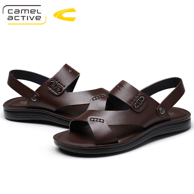 Camel Active New Summer Men Beach Sandals Handmade Genuine Leather Sandals Shoes for Men Leisure Durable Non-slip Shoes