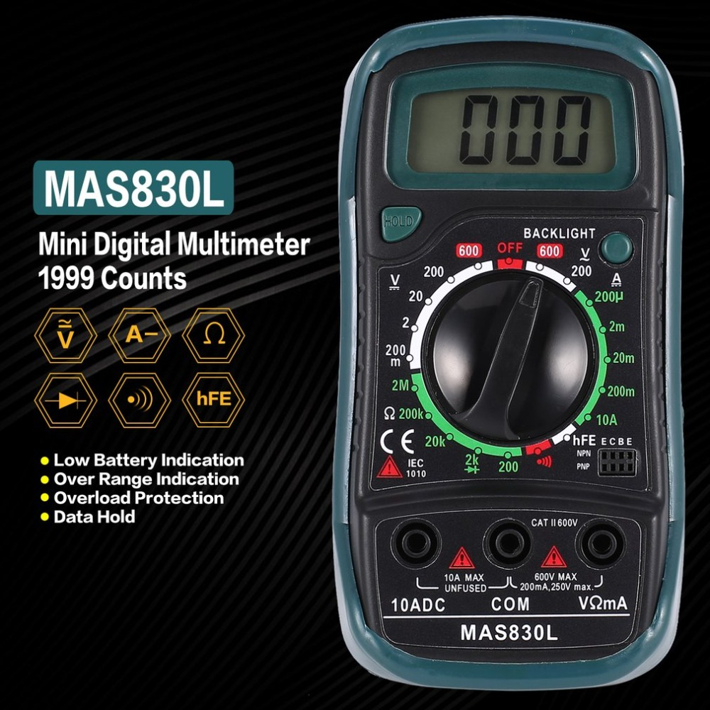 Confident A830l Mini Pocket Digital Multimeter 1999 Counts Ac/dc Volt Amp Ohm Diode Hfe Continuity Tester Ammeter Voltmeter To Win A High Admiration And Is Widely Trusted At Home And Abroad. Multimeters Electrical Instruments