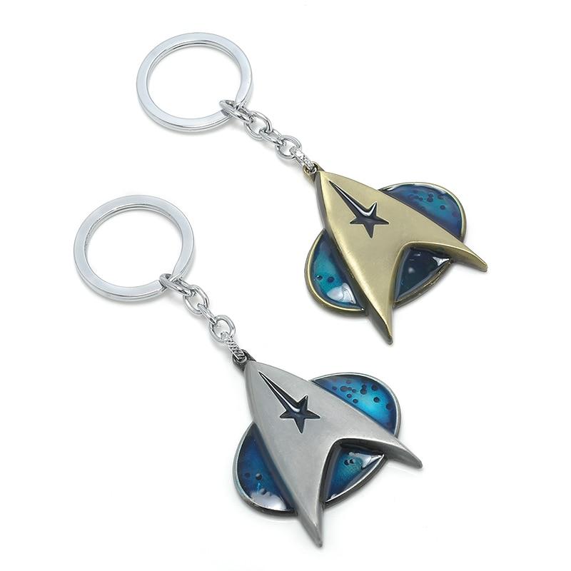 Hot Movie Star Trek Pendant Communicator Darkness Starfleet Command Surounding keyring for fans Keychain men Gift Free shipping