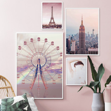 Pink Empire State Building Paris Tower Wall Art Canvas Painting Nordic Posters And Prints Pictures For Living Room Decor