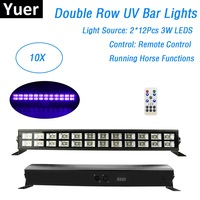 10 Units 24X3W UV Color Stage Black Light Led Bar Remote Control DMX Stage Lighting Effect Disco Xmas Party Indoor Dj Lights