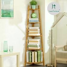 Луи моды книжные шкафы простой полки простой современный Многоэтажный твердой древесины посадки угловая полка для хранения студентов