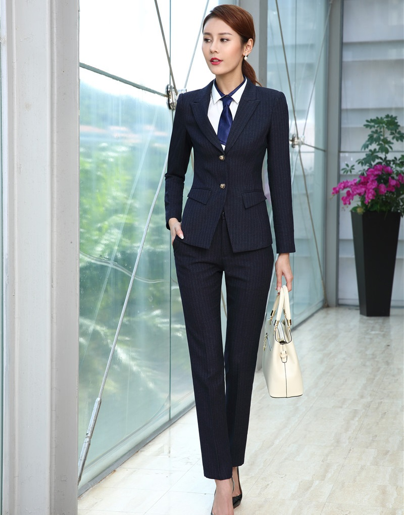 Great Quality Fiber Black Blazer Women Business Suits with Pant and ...
