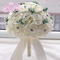 Cheap White Red Blue Crystal Wedding Bouquets Artificial Brides Bouquets Beach Flowers Bridal Brooch Bouquets Ramo De Novia 2016