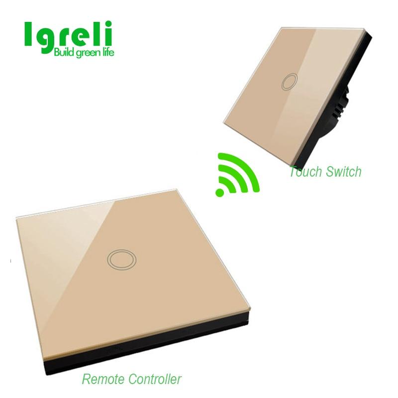 Sans fil tactile télécommande RF 433 MHZ verre panneau télécommande, tactile interrupteur de contrôle, LED voyant interrupteur