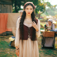 SHCAI Spring Autumn Women Vintage&Retro Square Collar French Rural Long Princess Dress Double Layer Cotton Linen Two-Piece Dress