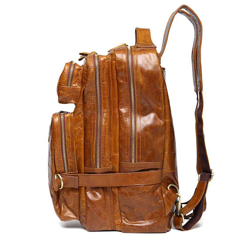 Teemzone 100 Genuine Leather Men Bag Casual Travel For Laptop Notebook Computer Bags School Rucksack 3 Colors T8925 In Crossbody From Luggage