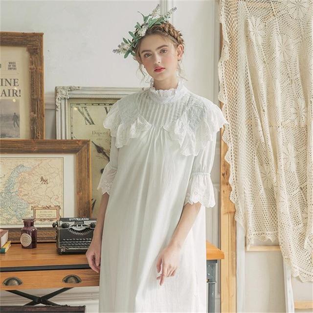 Vintage Dress Cotton Sleepwear Nightgown Casual Sleepwear Women Nightwear 4  color European retro style for ladies dress 524859c65