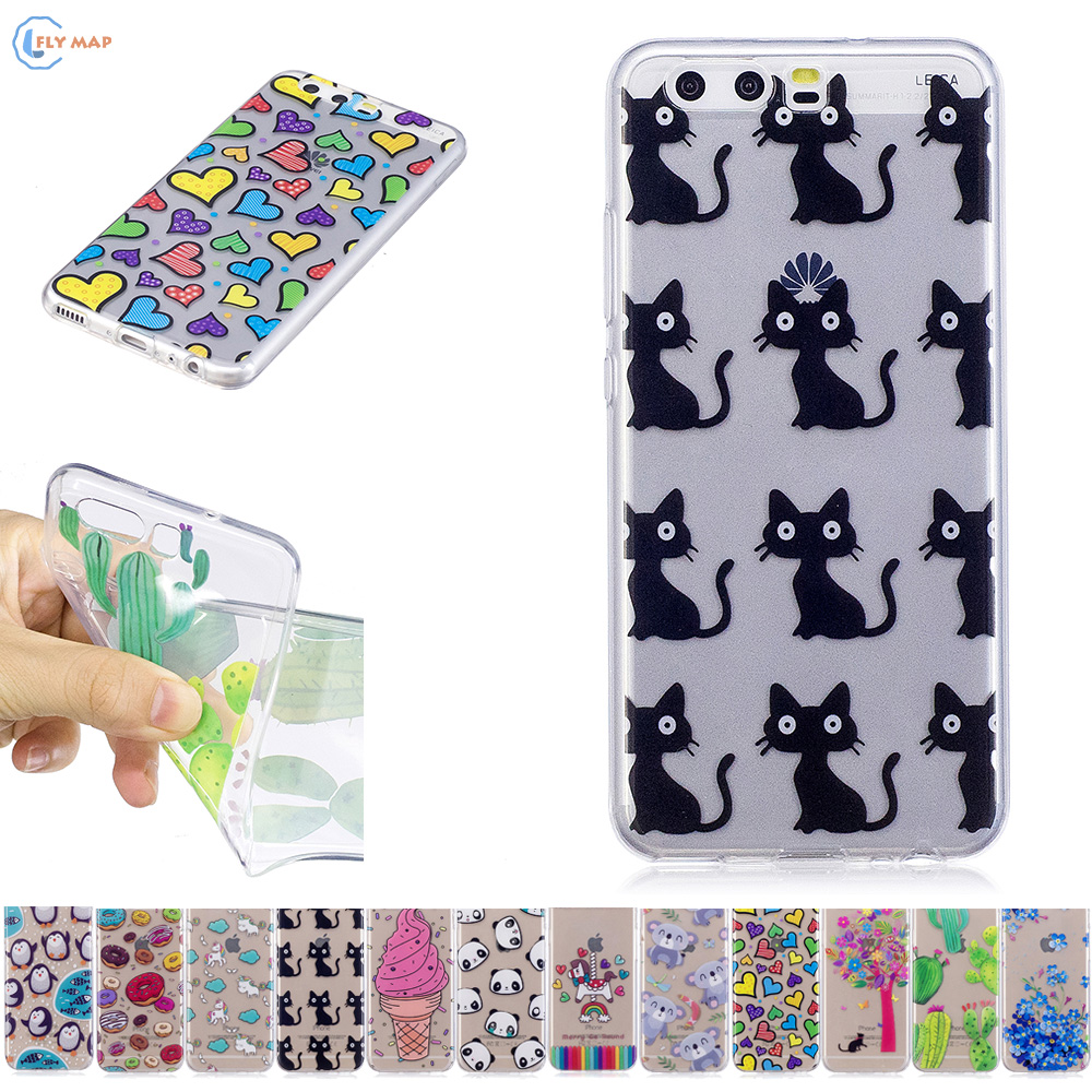 Soft TPU Case for Huawei P10 VTR L29 L09 Unicorn Cat Phone Case for Huawei P 10 VTR-L29 VTR-L09 VTR-AL00 Floral Silicone Cover