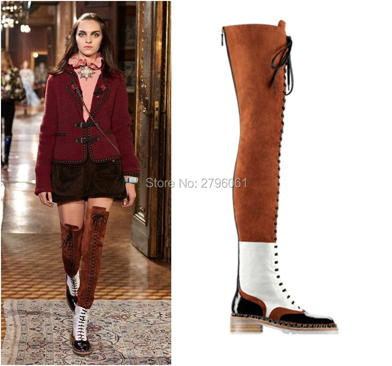 Gladiator Lace up Over the knee Long Boots Mixed Color Winter Flat Boots Round Toe Motorcycle Shoes Woman Metal Chain