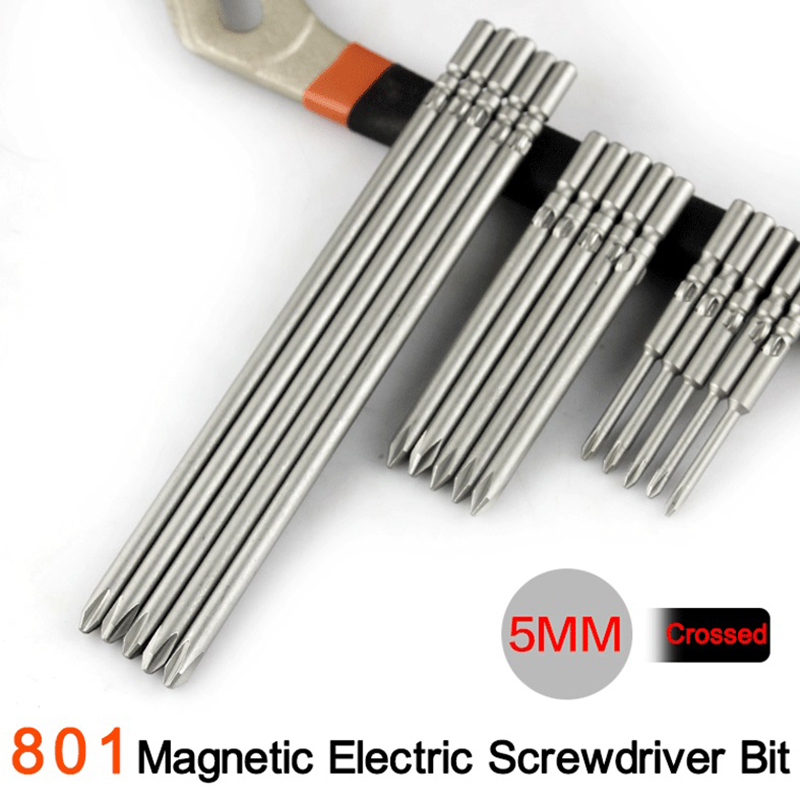 5mm Shank Diameter Magnetic Screwdriver Bits For 801 Electronic Screwdriver S2 Material 60/80/100mm Length 5x600x1.6xPH0/PH1/PH2