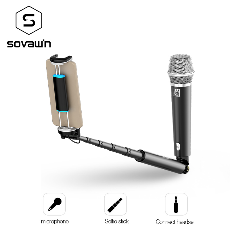 Selfie Stick with Condenser Microphone Studio Mic Monopod 2 in 1 function for Online Star recording sounds and shooting Iphone best quality yarmee multi functional condenser studio recording microphone xlr mic yr01