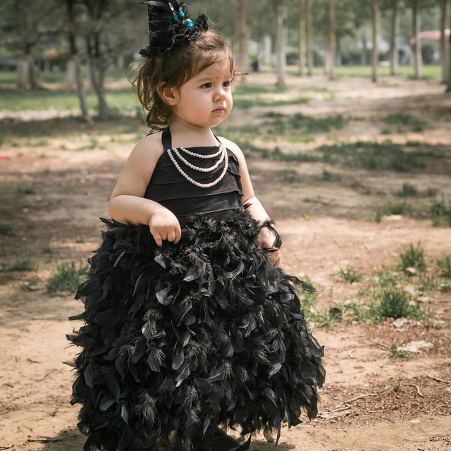 f5bc13212 Wholesale Pageant Ball Gowns For Girls Dress 2018 New Black Feather Flower  Girl Dress Plus Size Kids Evening Dress Low Price