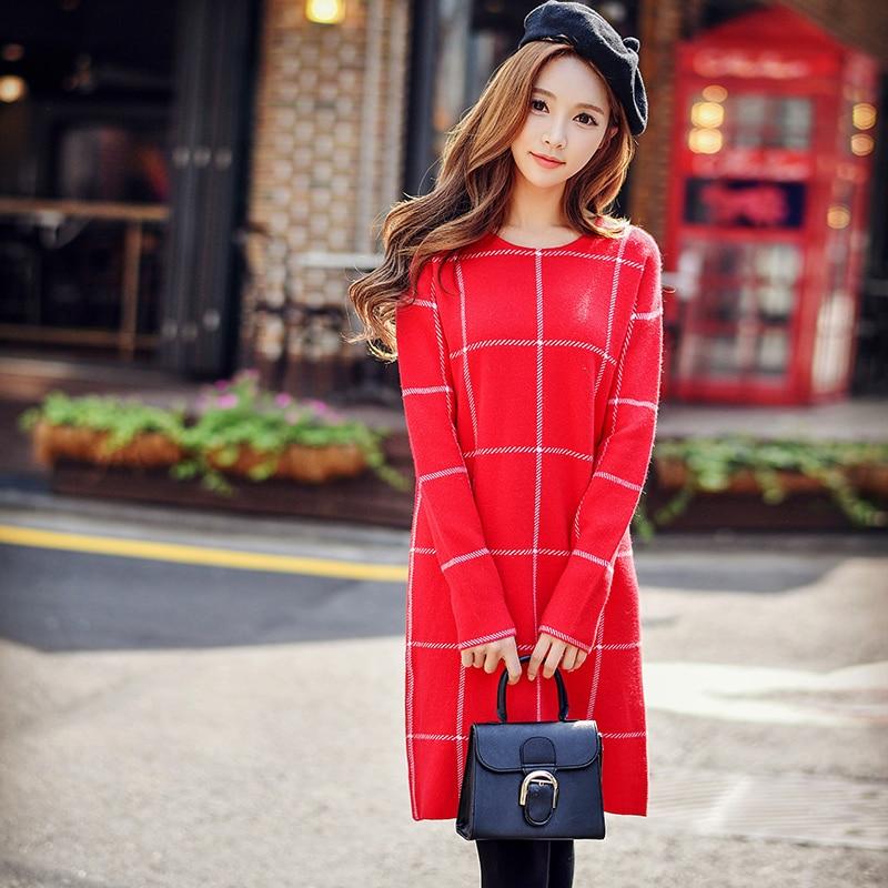 Original 2016 Brand Vestidos Autumn Winter Long Sleeve Slim Elegant Fashion Red Plaid Sweater Dress Women