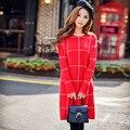 Original de la Marca 2016 Vestidos de Otoño Invierno Más El Tamaño de Manga Larga Delgada Vestido de Suéter A Cuadros Rojo Elegante de la Manera de Las Mujeres Al Por Mayor
