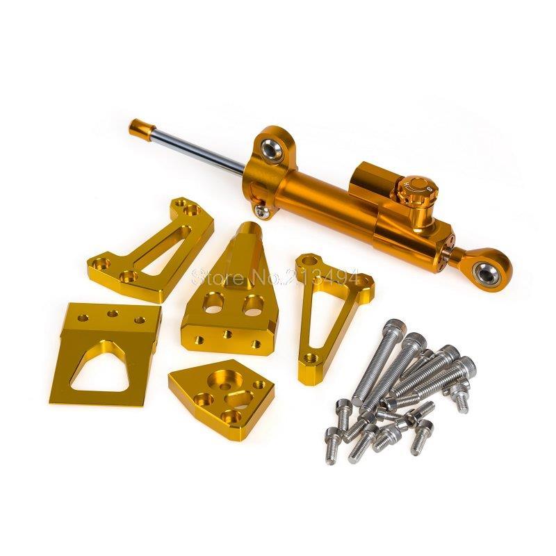 New Arrival Steering Damper + Mounting Kit For Kawasaki ER-4N ER-4F 2011-2014 ER-6N ER-6F 2009-2011 Gold
