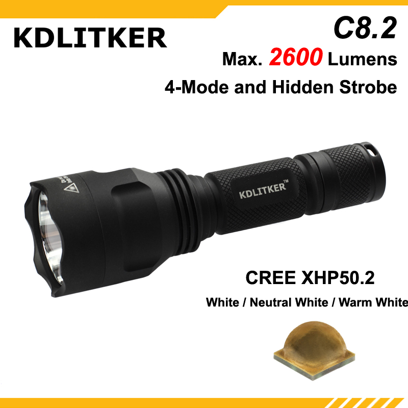 New KDLITKER C8.2 Cree XHP50.2 White / Neutral White / Warm White 2600 Lumens 5-Mode LED Flashlight - Black ( 1x18650 )